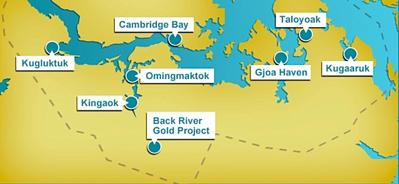 This map shows the location of Sabina Gold and Silver Corp.'s Back River gold mine project in western Nunavut. (FILE PHOTO)