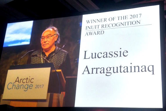 "As ArcticNet's Arctic Change 2017 conference in Quebec City ends Dec. 14, Lucassie Arragutainaq of Sanikiluaq accepts ArcticNet's 2017 Inuit Recognition Award for his work on climate change and other environmental areas. Arragutainaq, among other achievements, co-edited the 1997 report, ""Voices from the Bay: Traditional Ecological Knowledge of Inuit and Cree in the Hudson Bay Bioregion"