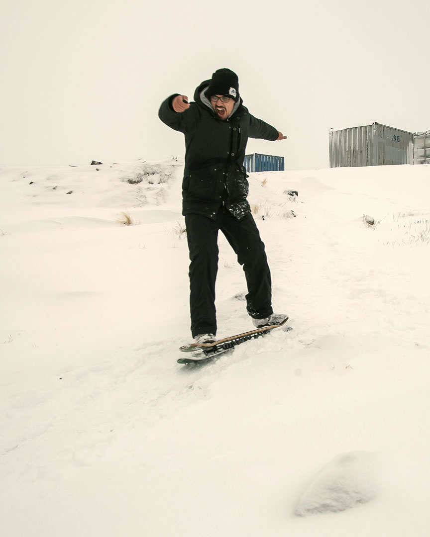 Jonathan Nuss takes a turn around Taloyoak on his snow skate. (PHOTO COURTESY OF JONATHAN NUSS)