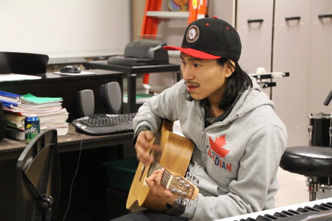 Allan Kangok during a practice jam session at Inuksuk High School Jan. 17. (PHOTO BY BETH BROWN)