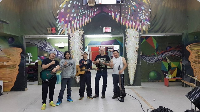 Billy-Jay Ammaq, Allan Kangok, Lazarus Qattalik, Chis Coleman and Panuelie Attagutaalukutuk pose in Igloolik during the recording of the album Iqippagit in Nov. 2016. The album was released in December. (PHOTO COURTESY OF ARTCIRQ)