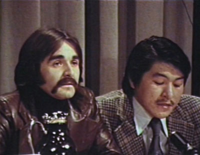 Watt, left, is pictured at the negotiation table in 1975 with Zebedee Nungak, the same year the James Bay and Northern Quebec Agreement was signed. (PHOTO COURTESY OF MAKIVIK CORP)