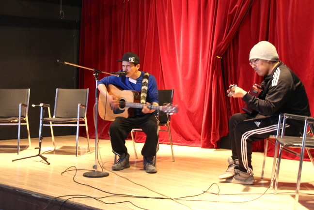Igloolik artist Lazarus (Mister) Qattalik, seen here on the left, is one of many Nunavut musicians who will perform both covers and originals at an Inuktitut music tribute concert Jan. 20. (FILE PHOTO)