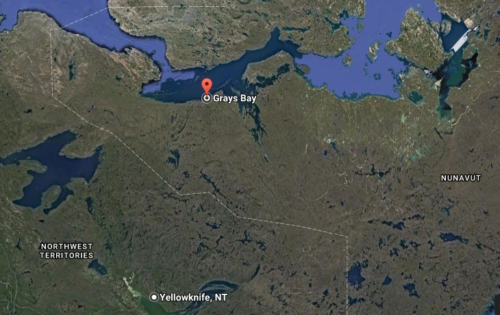 This map shows the location of Grays Bay in Nunavut, located some 800 km north of Yellowknife in Nunavut. (FILE IMAGE)