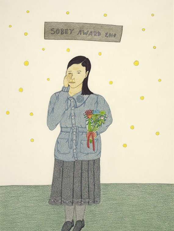 "In this self-portrait, Pootoogook shows herself after winning the prestigious Sobey Art Award, which came with a $50,000 cash prize, in 2006. ""They like my work, so I was happy,"