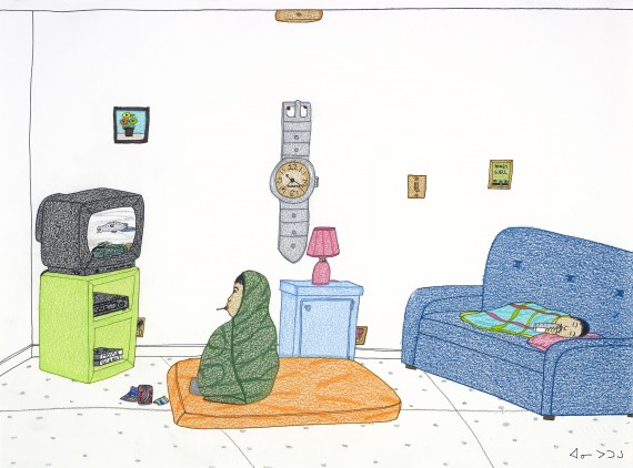 Annie Pootoogook's Watching Hunting Shows, 2004. (IMAGE COURTESY OF GOOSE LANE EDITIONS)