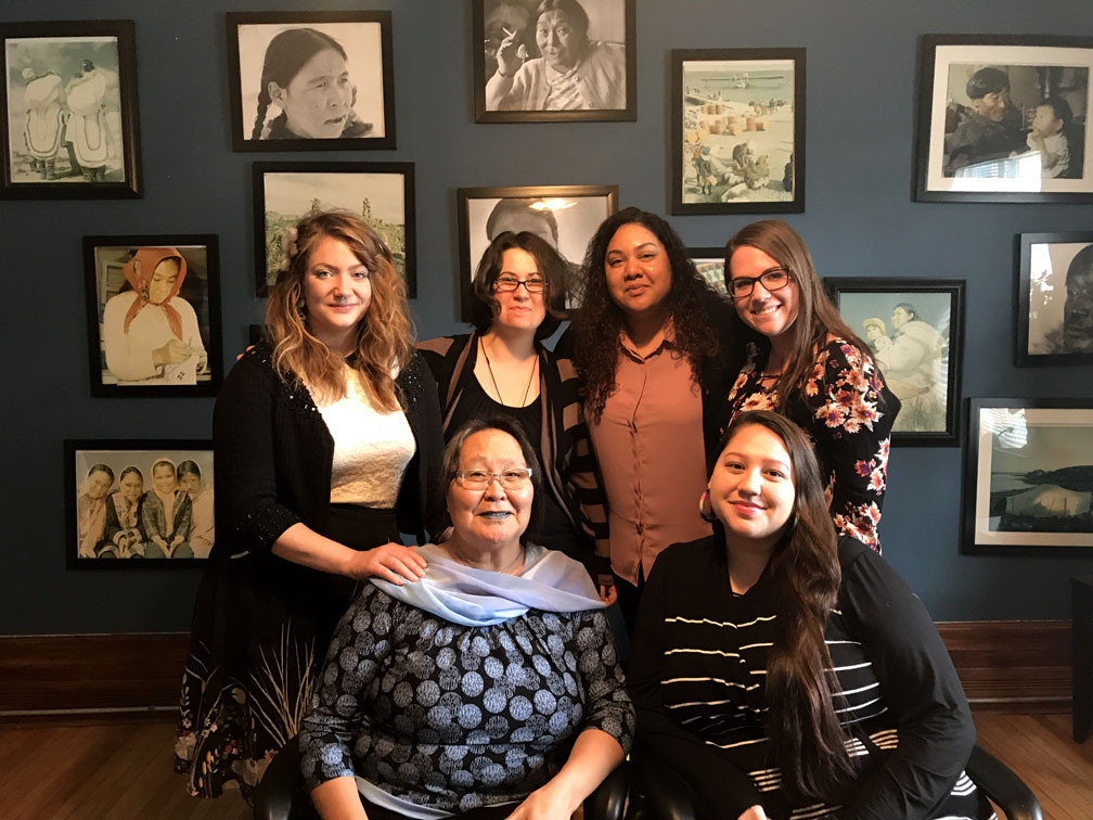 Here's the team at Alluriarniq, a Tungasuvvingat Inuit program that helps Inuit sex workers in Ottawa. Clockwise from bottom left: Meeka Kakudluk, the program's elder; Jaymie Thurler, the anti-human-trafficking youth-in-transition worker; Aden Cosgrove, the program's counsellor; Jennisha Wilson, the program manager; Stevie Voisine, the anti-human-trafficking coordinator; and Shazie Kanatiiostha Phillips, the outreach worker. (PHOTO COURTESY OF ALLURIARNIQ)