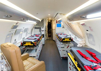 The government of Quebec has promised to look at how to reconfigure the province's air ambulance, set up inside a Challenger jet, to accommodate parents who want to accompany their children south for treatment. (PHOTO COURTESY OF GOV. OF QUEBEC)