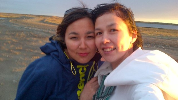 Edith Angalik, left, is pictured with her older sister. The 24-year-old Rankin Inlet woman was killed by her partner in 2014, and the wounds her death left are still deep, her parents told the MMIWG inquiry last week. (HANDOUT PHOTO)