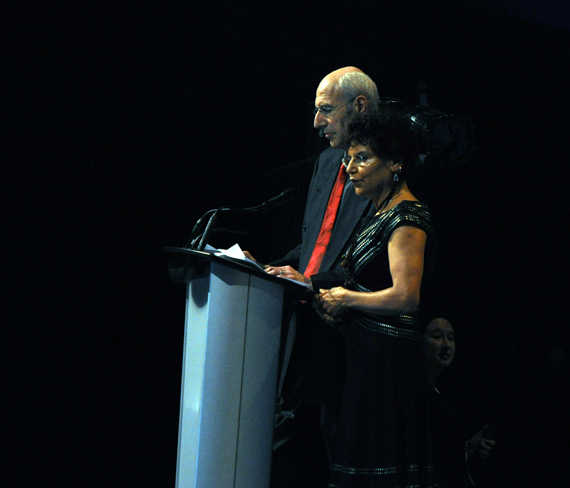 Arnold Witzig and Sima Sharifi speak to the Arctic Inspiration Prize gala Jan. 31, just after it was announced that the couple will donate $60 million to the prize's trust fund. (PHOTO BY SARAH ROGERS)