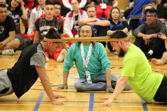 Team Nunavik's Davidee Nassak, right, competes in the head pull event at the Arctic Winter Games in South Slave, N.W.T. on March 21. The Games wrapped up this past Saturday, March 23. Nunavut placed seventh overall, garnering 15 golds, 17 silvers and 23 bronze, for a total of 55 ulus, while Nunavik-Northern Quebec placed eighth, with eight golds, eight silvers and five bronze, for a total of 21 ulus. (PHOTO COURTESY TEAM NUNAVIK/CATHERINE GRAYDON)