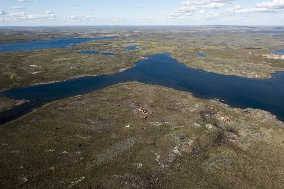 This is an aerial view of Agnico Eagle's Whale Tail project, found 150 about kilometres north of Baker Lake. The company now has its project certificate for plans to build an open-pit gold mine at the site. (PHOTO COURTESY AGNICO EAGLE/FLICKR)