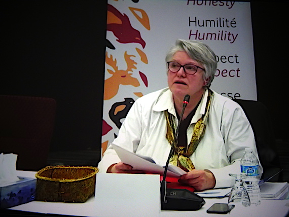 Lorraine Loranger, a retired social worker who worked with youth protection in Nunavik, tells the Viens commission hearing about what she saw in the region. When asked if conditions had improved, she said they could have, but some had told her that they hadn't. (SCREEN SHOT)