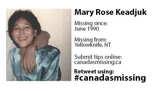 Mary Rose Keadjuk of Kugluktuk went missing in 1990 while she was living in Yellowknife. Police have only just been able to identify Keadjuk's remains based on bone fragments found in the city. The investigation into her disappearance continues.