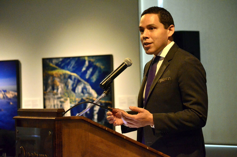 Natan Obed, the president of Inuit Tapiriit Kanatami, announces the release of the National Inuit Strategy on Research this past March 22 at the Canadian Museum of Nature in Ottawa. (PHOTO BY JIM BELL)