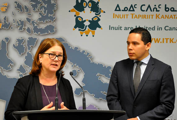 Indigenous Services Minister Jane Philpott,  at a March 23 press conference in Ottawa, promises the federal government will eliminate tuberculosis from Inuit Nunangat by 2030. She's flanked by Inuit Tapiriit Kanatami President Natan Obed, who worked with the federal government on the issue through the Inuit-Crown Partnership Committee. (PHOTO BY SARAH ROGERS)