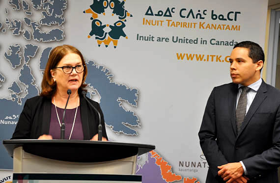Indigenous Services Minister Jane Philpott and Inuit Tapiriit Kanatami President Natan Obed announce a target date for eliminating tuberculosis across Inuit Nunangat at a press conference on Friday, March 23, in Ottawa, one day ahead of World Tuberculosis Day. As part of the TB task Force, the federal government said it aims to eliminate the infectious disease among Canada's Inuit by 2030, while reducing the rate of active TB by at least 50 per cent by 2025.