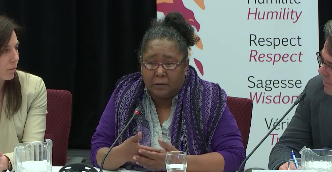 Annie Pisuktie, secretary of the Southern Quebec Inuit Association, speaks March 21 at the Viens commission hearing in Montreal about the needs of Montreal's growing Inuit population. (SCREEN SHOT)