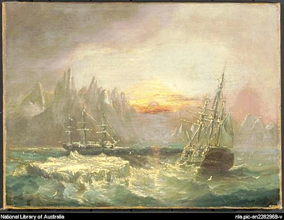 A painting of Sir John Franklin's HMS Erebus and HMS Terror, circa 1850, by E. W. Cooke. The United Kingdom, which owns the ships, announced this week it would make a gift of them to Canada, but plans to retain some of the artifacts found therein. (FILE PHOTO/NATIONAL LIBRARY OF AUSTRALIA)
