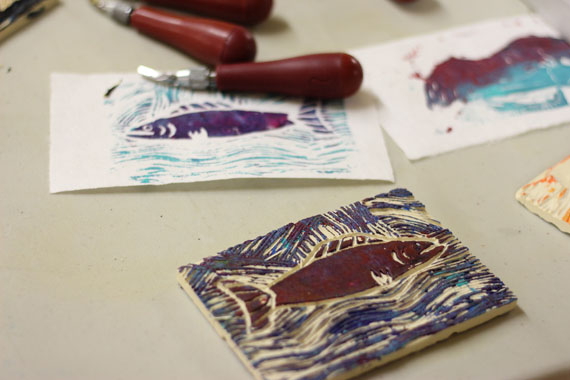 Pangnirtung students were able to try their hands at lithography for the first time during a recent trip to Cape Dorset and its West Baffin Eskimo Co-operative and printmaking studios. (PHOTO BY DAVID POISEY)