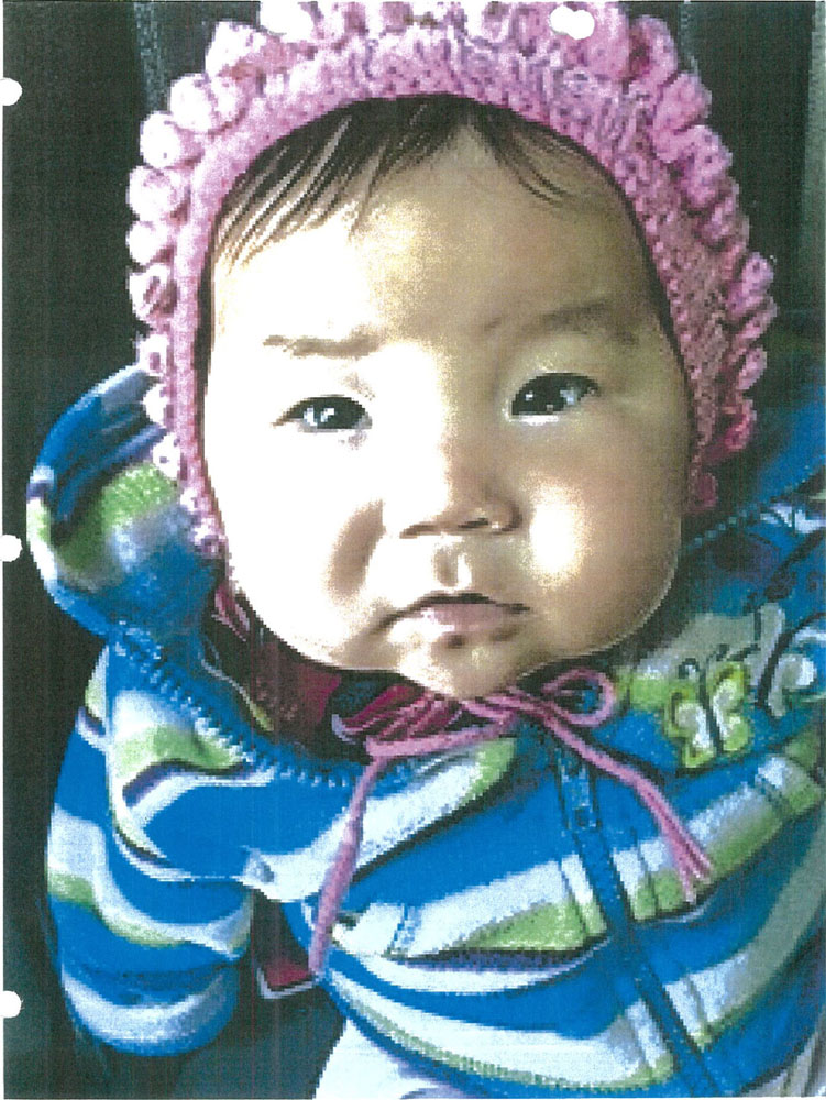 A former Nunavut social worker testified yesterday that she apprehended baby Amelia Annie Leah Keyookta after finding thick marijuana smoke in her home. (EVIDENCE PHOTO)