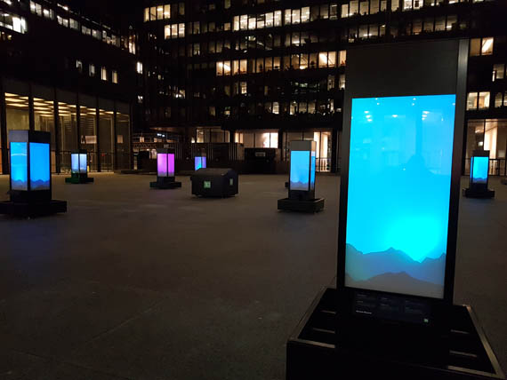 A new installation curated by Dorset Fine Arts and TD Bank features a series of light boxes set up in Toronto's financial district. The boxes feature representations of the northern lights, along with legends shared by Cape Dorset artists. (PHOTO BY SARAH ROGERS)
