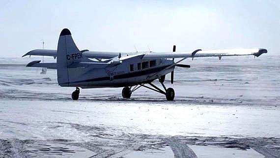 Ookpik Aviation's DeHavilland Otter sits on the runway in Baker Lake following a search and rescue mission April 11, when a missing snowmobiler was found alive and well en route to Rankin Inlet. Qaman'tuaq Qiniqtiit, Baker Lake's search and rescue organization, thanked the local airline for donating the aircraft to its search efforts. (PHOTO COURTESY OF RICHARD AKSAWNEE)