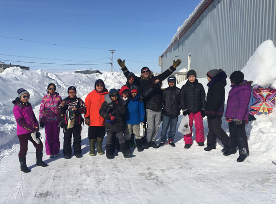 Seven students from Pangnirtung's Attagoyuk Ilisavik school flew to Cape Dorset April 9-13 to take part in a series of art workshops with another seven students at the local Peter Pitseolak school. (PHOTO BY DAVID POISEY)