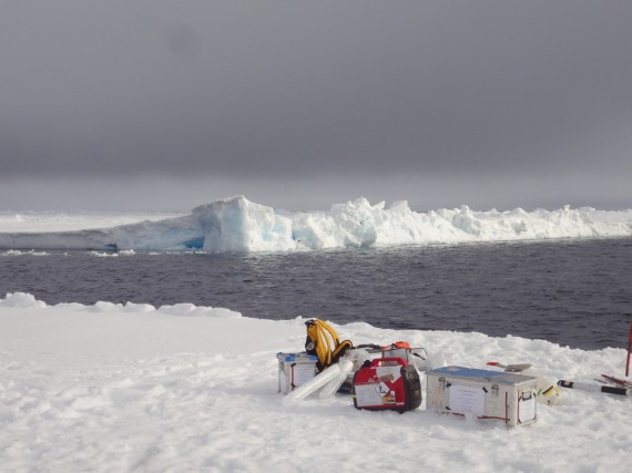 Scientists gather samples from an Arctic ice floe. (PHOTO COURTESY OF THE ALFRED WEGENER INSTITUTE)