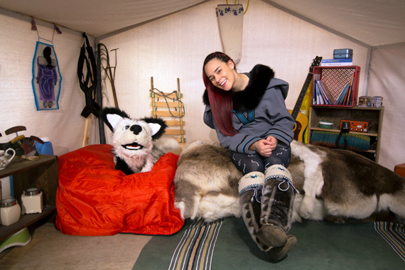 Rita Claire Mike-Murphy and Qimmiq host the new children's television show Anaana's Tent, which airs on APTN May 12. (PHOTO COURTESY OF TAQQUT)