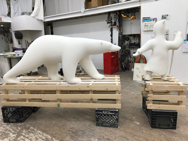These large sculptures of a polar bear and an Inuk hunter are on their way to being installed at the Canadian High Arctic Research Station in Cambridge Bay. A public call-out from Polar Knowledge Canada offers you the chance to provide direction to the federal agency that manages CHARS. (PHOTO COURTESY OF THE GOVERNMENT OF CANADA)