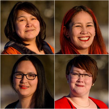 The Gordon Foundation's group of 15 Jane Glassco Northern fellows for 2018–9 includes, clockwise from top left, Hilda Snowball from Kangiqsualujjuaq, Laura Arngna'naaq from Yellowknife, Megan Pizzo-Lyall from Rankin Inlet and Kaviq Kaluraq from Iqaluit. (IMAGES COURTESY OF GORDON FOUNDATION)