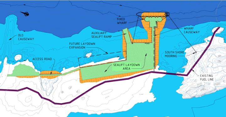 Iqaluit's deep-sea port will be located at the southwestern tip of Koojesse Inlet. Its features, shown in orange and green in this image, will include a fixed dock where cargo ships will unload their freight and a sealift ramp to unload barges. (IMAGE FROM GOVERNMENT OF NUNAVUT)