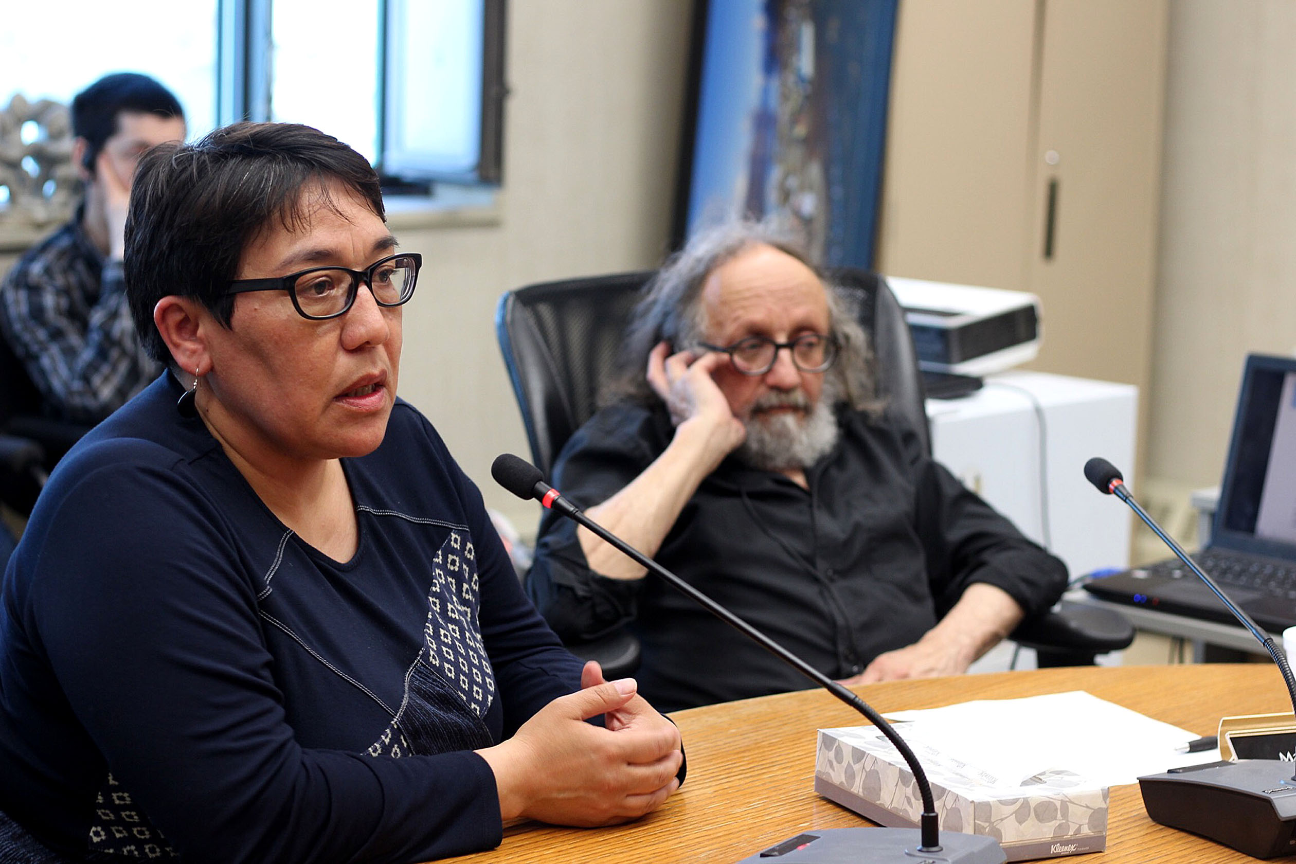 "Pangnirtung MLA Margaret Nakashuk at a meeting held last night between hamlet representatives and civil servants from the Nunavut government, along with the Nunavut RCMP. ""We need to speak out,"" Nakashuk said. (PHOTO BY BETH BROWN)"