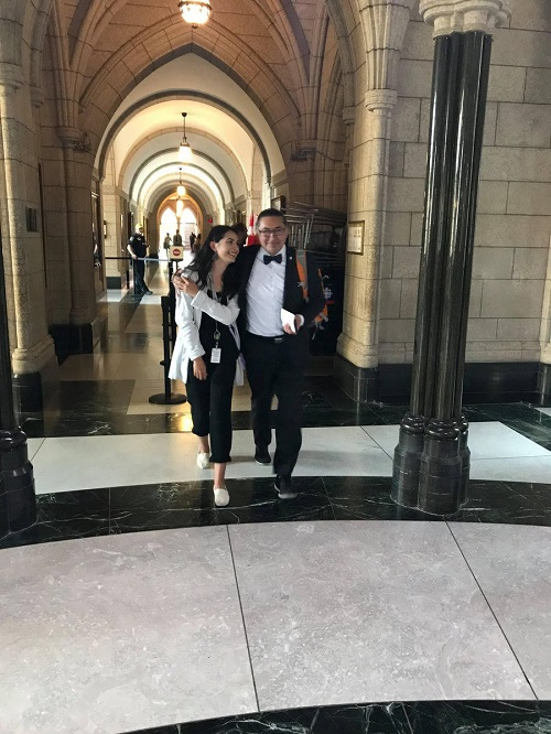 Romeo Saganash leaves Parliament on May 30 with his daughter Maitee Saganash after MPs voted to approve Bill C-262. (PHOTO COURTESY M. SAGANASH/TWITTER)