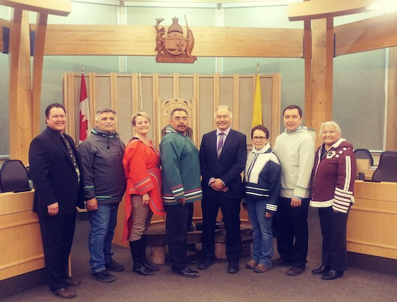 The Savikataaq cabinet, in the Nunavut legislature, on Friday, June 15, the day after Joe Savikataaq became Nunavut's new premier.  (PHOTO BY COURTNEY EDGAR)