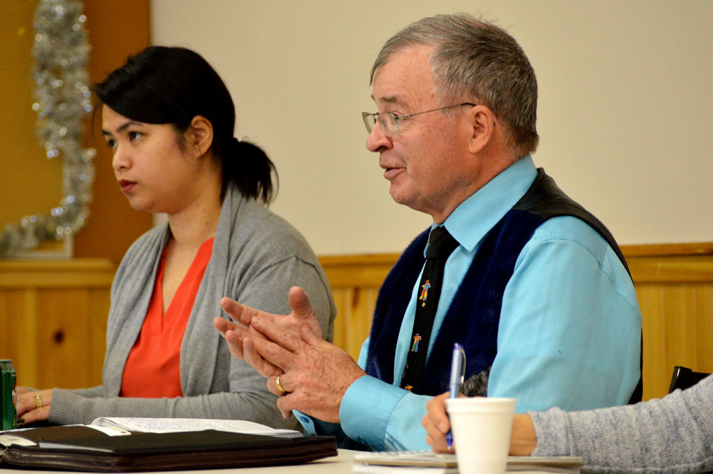 Senator Dennis Patterson, seen here in Iqaluit during a meeting about the impending legalization of recreational cannabis in February, says the territory is unprepared for the social harms that could come with legalization. (PHOTO BY STEVE DUCHARME)