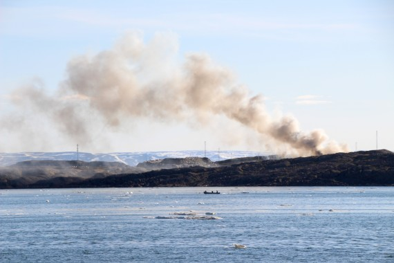 A fire that began at the City of Iqaluit's landfill around 5:30 p.m. on Wednesday, July 12, burned for about two hours before it was doused by the city's firefighters. See story later at Nunatsiaq.com. (PHOTO BY BETH BROWN)