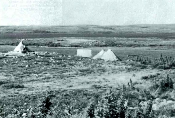 This photo by Geert van Steenhoven shows Ennadai Lake in 1955, with the tents of some of the Ahiarmiut who called the area home. (PHOTO COURTESY OF ITK)