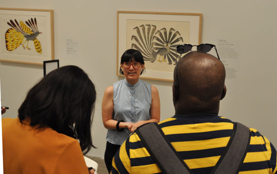 Curator Jocelyn Piirainen guides media, June 11, through the Kenojuak Ashevak exhibit at the Art Gallery of Ontario, which is on until August 12. (PHOTO BY SARAH ROGERS)