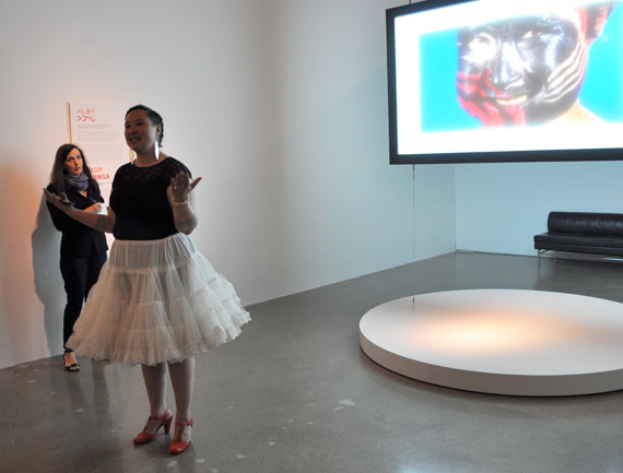 Exhibit curator Laakkuluk Williamson Bathory appears in a 25-minute video on Greenlandic uajeerneeq or mask dancing, which is broadcast from one of the exhibit rooms in the Toronto gallery. (PHOTO BY SARAH ROGERS)