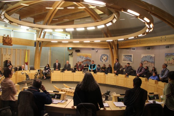 Sixteen of Nunavut's 22 members elected in the Government of Nunavut voted to remove Premier Paul Quassa from cabinet, June 14. (PHOTO BY BETH BROWN)