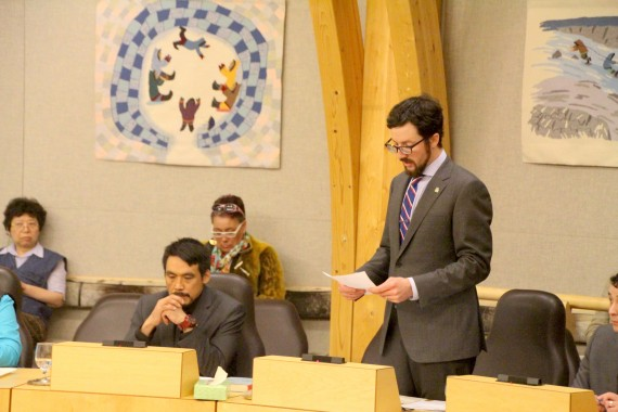 As chair for the council of regular members, Arviat North-Whale Cove MLA John Main reads a motion, June 14 in Nunavut's legislative assembly, to remove Paul Quassa from his role as premier and from the executive council, or cabinet. That motion passed. (PHOTO BY BETH BROWN)