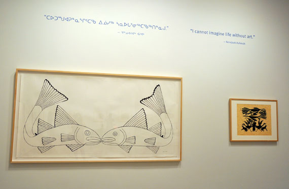 Cape Dorset artist Kenojuak Ashevak's print Two Fish, pictured here on display at the AGO's Tunirrusiangit exhibit, was the artist's last piece, created in 2012, just months before she died at age 85. Ashevak's son Adamie had to finish some of the piece's ink work. (PHOTO BY SARAH ROGERS)