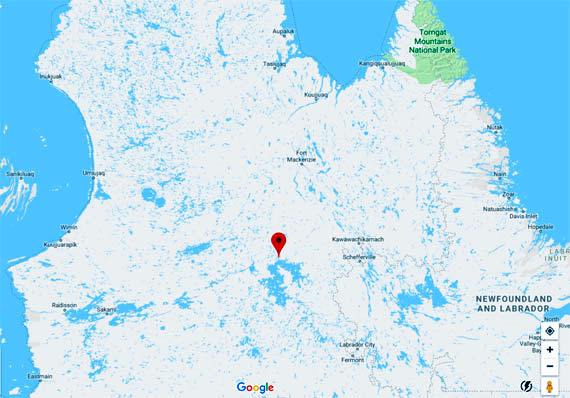 The red marker indicates the location of the Duplanter spill-way, which controls the release of water flowing from the Caniapiscau reservoir into the Caniapiscau River, a tributary of the Koksoak River. (IMAGE COURTESY OF GOOGLE MAPS)