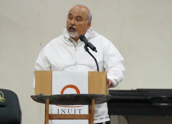 ASRC president Rex Rock speaks at the gathering of the Inuit Circumpolar Council in Utqiagvik, Alaska, last week. (PHOTO COURTESY OF YERETH ROSEN/ARCTIC TODAY)