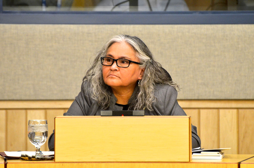 Elisapee Sheutiapik is Nunavut's minister of family services. The department she oversees is seeking proposals for community-based projects that aim to promote women's empowerment in the territory. (FILE PHOTO)