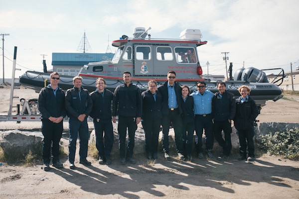 The new crews at Rankin Inlet's inshore rescue boat station pose in front of their rescue boat July 26 following the inauguration of the new Coast Guard station, the first of its kind in the Arctic. (PHOTO COURTESY OF COAST GUARD/DFO)