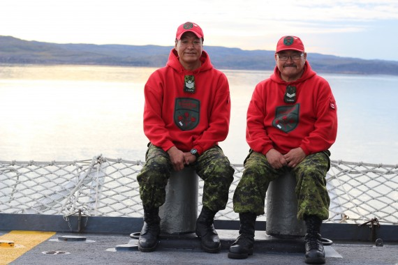 Rangers Moses Iqqaqsaq of Igloolik and Jay Killiktee of Clyde River spent two weeks on HMCS Charlottetown as part of Operation Nanook, sailing to Greenland and back. (PHOTO BY BETH BROWN)