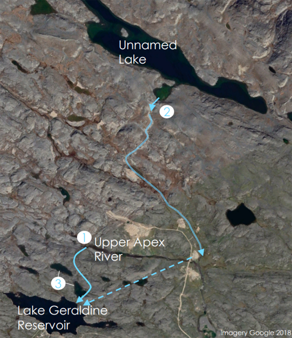 A water licence application prepared by the City of Iqaluit shows the two water bodies from which it plans to supplement Lake Geraldine: the Apex River along the Road to Nowhere, as well as another unnamed lake about 1.6 kilometres northwest. (IMAGE COURTESY OF THE CITY OF IQALUIT)